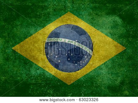 National flag of Brazil with ball vintage version