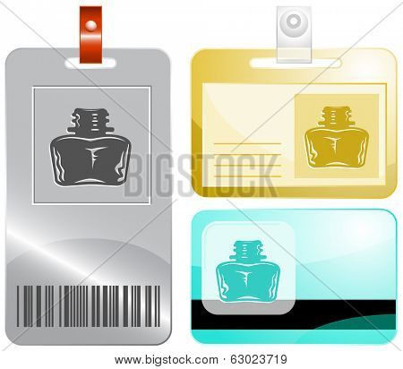 Inkstand. Id cards. Raster illustration.
