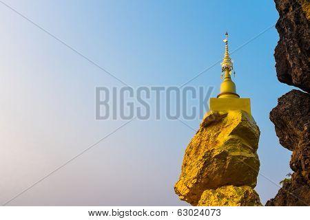 Pagoda On Rock Stone With Blue Sky