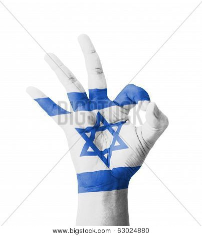 Hand Making Ok Sign, Israel Flag Painted As Symbol Of Best Quality, Positivity And Success - Isolate