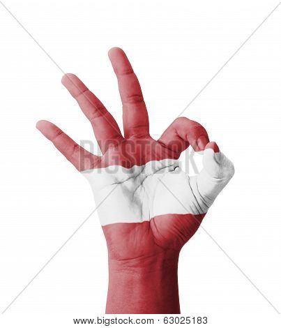 Hand Making Ok Sign, Latvia Flag Painted As Symbol Of Best Quality, Positivity And Success - Isolate
