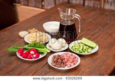 Traditional Russian kvass soup with vegetables - okroshka
