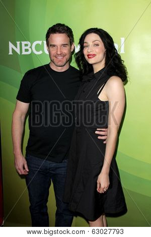 LAS VEGAS - APR 8:  Eddie McClintock, Joanne Kelly at the NBCUniversal Summer Press Day at Huntington Langham Hotel on April 8, 2014 in Pasadena, CA