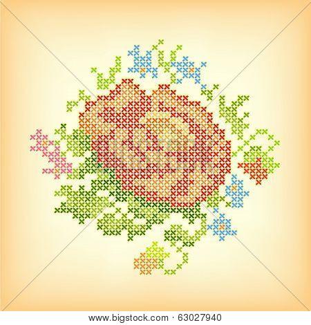 Vintage Embroidery, Flower Bouquet Cross Stitch