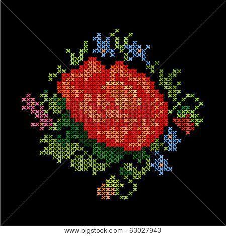 Embroidery, Vintage Flower Bouquet Cross Stitch