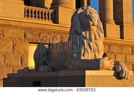 Lion Of The State Capitol Building In Salt Lake City, Utah