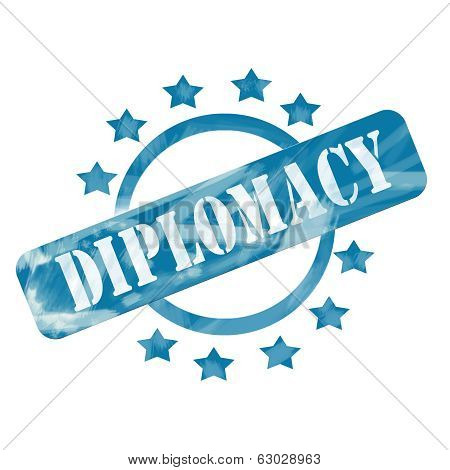 Blue Weathered Diplomacy Stamp Circle And Stars Design
