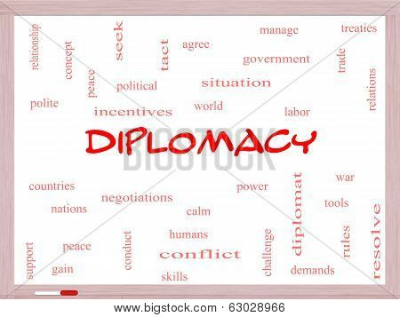 Diplomacy Word Cloud Concept On A Whiteboard
