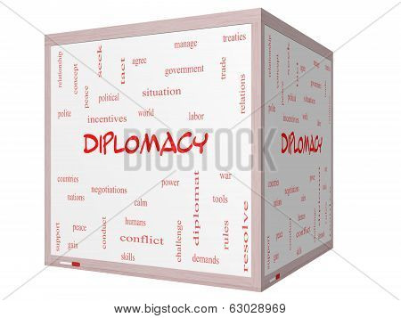 Diplomacy Word Cloud Concept On A 3D Cube Whiteboard