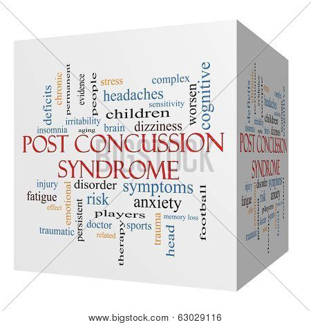 Post Concussion Syndrome 3D Cube Word Cloud Concept