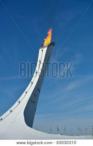 SOCHI, RUSSIA - FEBRUARY 12, 2014: Olympic Flame of XXII Winter Olympics in Olympic Park. Russia hosts the second Olympic Games in history