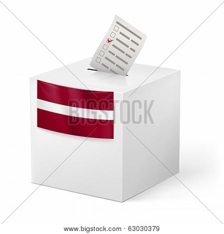 Ballot box with voting paper. Latvia
