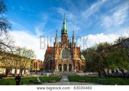 KRAKOW, POLAND - APR 8, 2014: Church Joseph - a historic Roman Catholic church in south-central part of Krakow. Was built 1905-1909 y and designed by Jana Sas-Zubrzyckiego.