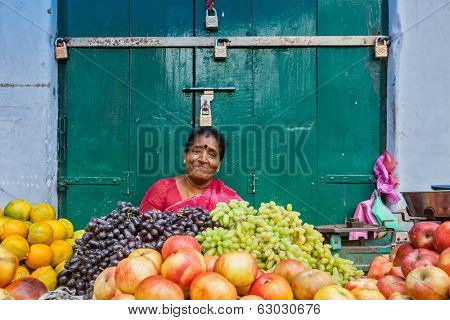 TIRUCHIRAPALLI, INDIA - FEBRUARY 14, 2013: Unidentified Indian woman - hawker (street vendor) of fruits