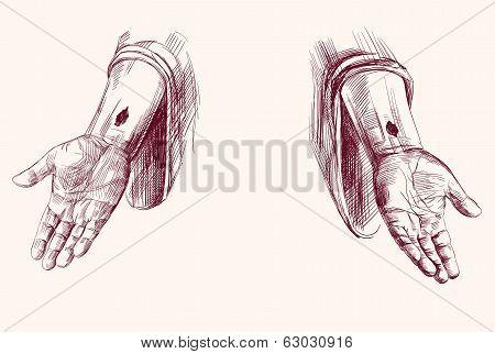 hands of Jesus Christ  hand drawn vector llustration