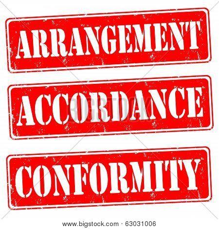 Arrangement,accordance,conformity