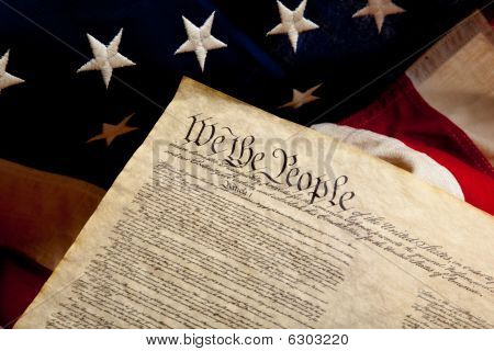 Preamble to the constitution And American Flag