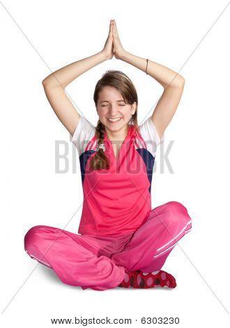 Smiling Girl Practicing Yoga