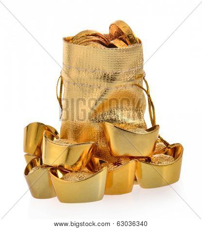 Bag with gold ingot on white background.