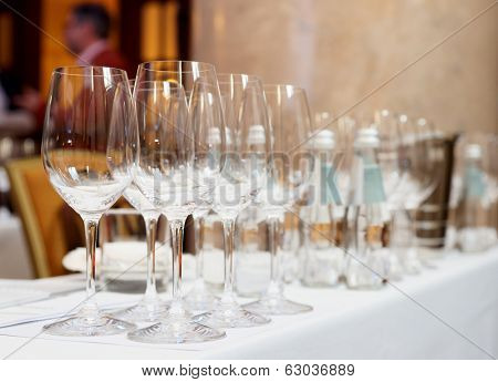 Wine glasses on a restaurant table