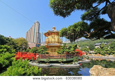 HONG KONG ISLAND, CHINA - JANUARY 2014 : Nan Lian Golden Pavilion of Absolute Perfection at Nan Lian Garden, in Diamond Hill, Hong Kong on January 1, 2014.