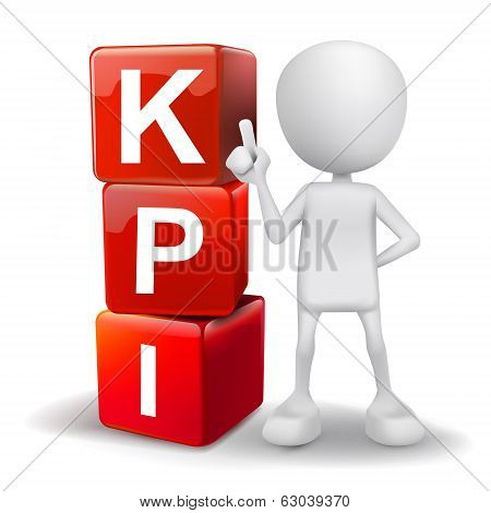 3D Illustration Of Person With Word Kpi Cubes