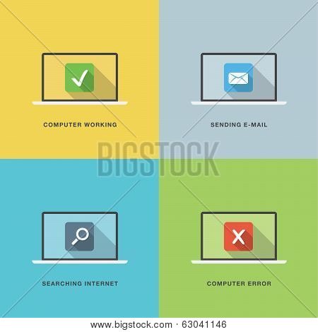 Computer actions in flat vector style laptop with colorful scenes