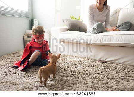 Family With Dog At Home