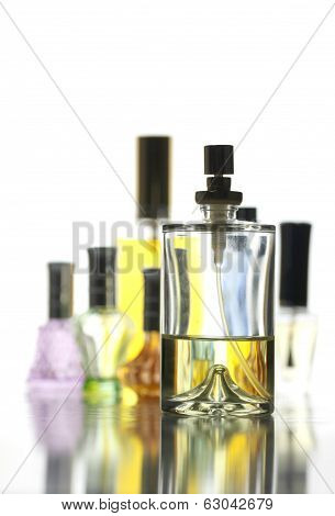 Many Bottle With Gold Perfume Color Isolated.