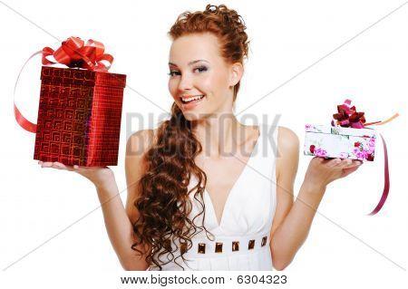 Surprised Woman Choosing Presents