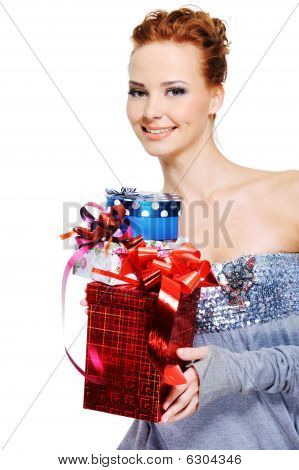 Sexy Caucasian Woman With Many Present Boxes