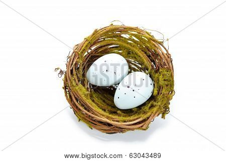 Birds Nest With Two Bird Eggs