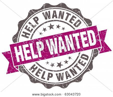 Help Wanted Violet Grunge Retro Vintage Isolated Seal