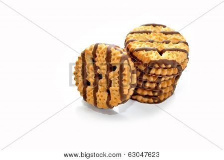 Staked Shortbread Cookies Isolated On White