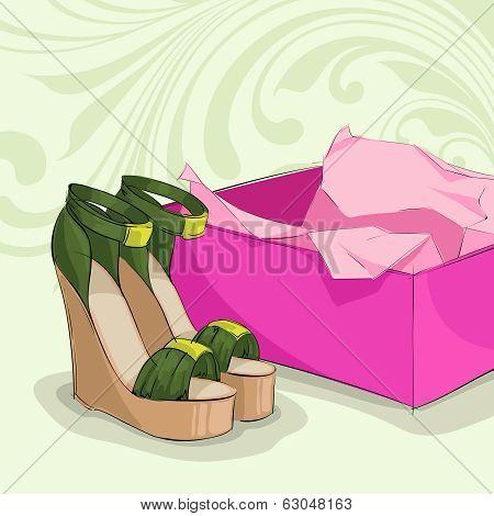 Modern woman's green sandals