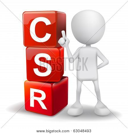3D Illustration Of Person With Word Csr Cubes