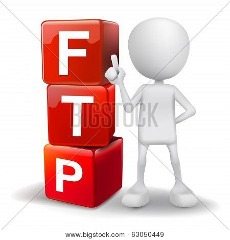 3D Illustration Of Person With Word Ftp Cubes