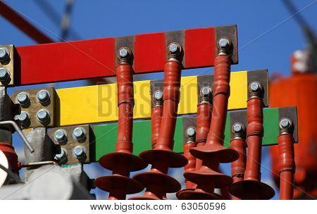Electrical Connectors Red Green And Yellow For Connection To Three-phase System In The Power Plant T