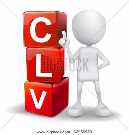 3D Illustration Of Person With Word Clv Cubes