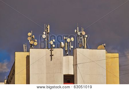 Antennas  On The Roof.