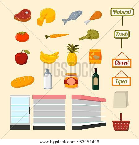 Collection of supermarket food items
