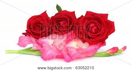 Bunch Of Gladiolus And Red Rose