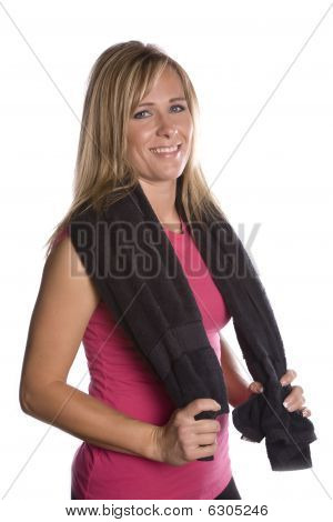 Woman With Towel Around Shoulders