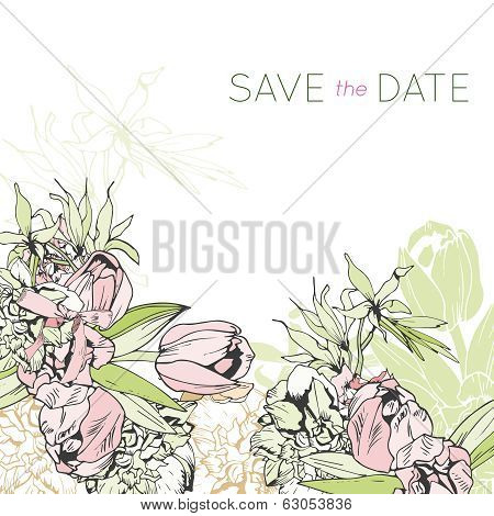 Tender floral invitation with tulips
