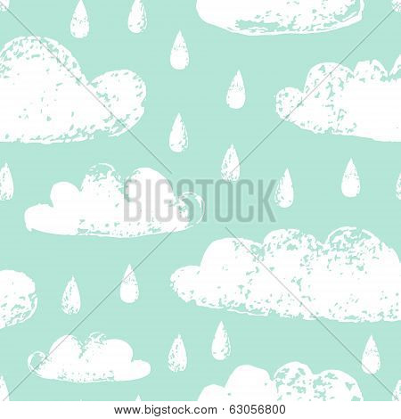 White clouds and raindrops grunge prints on teal blue sky seamless pattern, vector