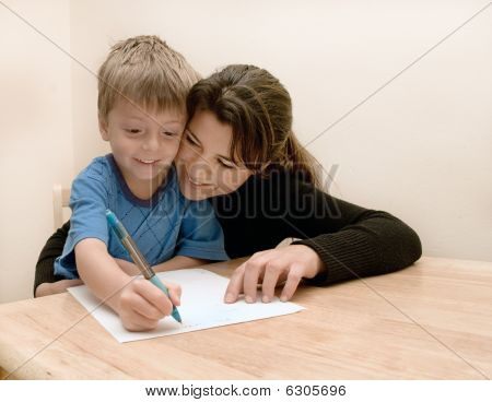 Mother and son doing homework.