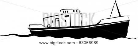 Vector drawing of small old fishing boat