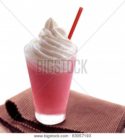 Strawberry Ice Cream Milkshake Isolated On White Background