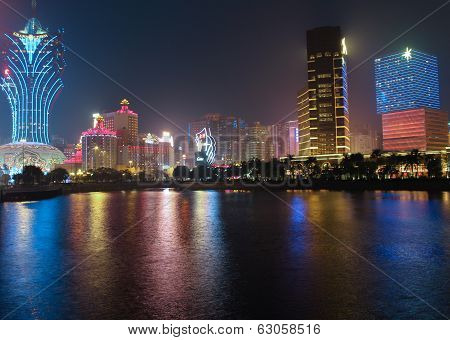 Panorama With Night Casino  In Macau