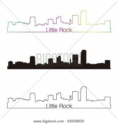 Little Rock Skyline Linear Style With Rainbow